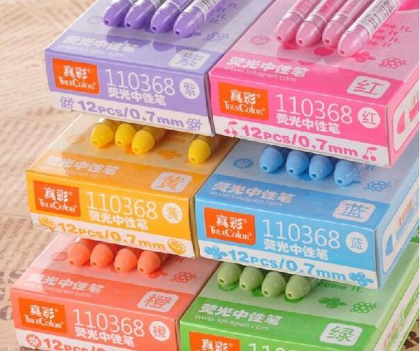 真彩 110368 炫彩荧光彩色荧光中性笔 5色5支0.7MM